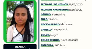 Se busca a Benita Hernández Baños, desapareció en Huasca