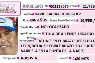 Se busca a David Ibarra Rodríguez, desapareció en Tula