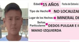 Se busca a joven extraviado en Mineral de la Reforma