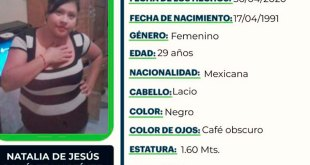Se busca a Natalia de Jesús Ramírez