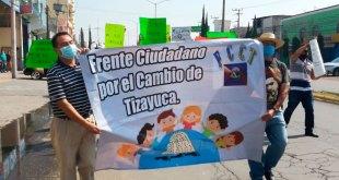 Marchan en Tizayuca contra el No Circula y desigualdad entre negocios