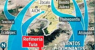 Lleva viento dióxido de azufre de Tula a la CDMX