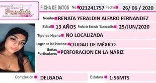 busca Renata Yeraldin Alfredo desapareció Ciudad de México