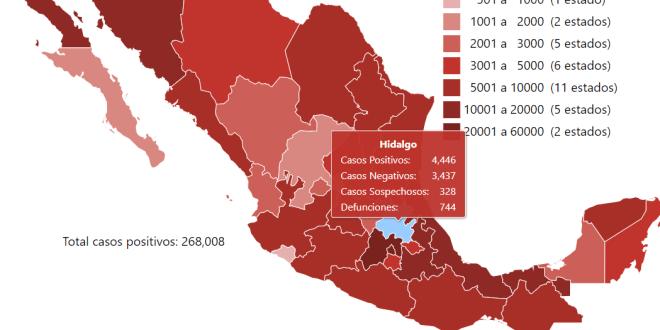 Al corte martes, 16 nuevas defunciones Covid-19 Hidalgo