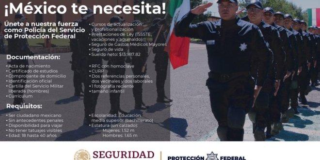 ¿Buscas empleo? Realizarán en Hidalgo reclutamiento para policías de Protección Federal