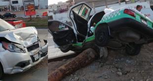 Un lesionado tras choque de auto y taxi sobre el bulevar Colosio