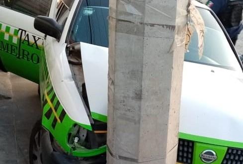 Choque de taxi deja una mujer herida en La Calera, Mineral de la Reforma