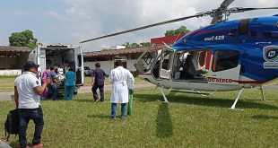 Mediante traslado aéreo, llevan a mujer con hemorragia de Huejutla a Pachuca