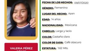 Se busca a Valeria Pérez Pérez; desapareció en Apan