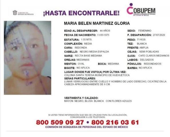 busca María Belén Martínez Gloria Huehuetoca