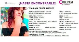 Se busca Vanessa Pérez, desapareció Tecamac