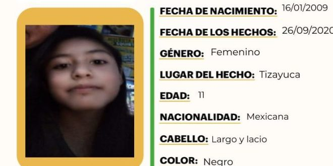 Activan Alerta Amber por Naomi Saraí Ramírez, extraviada en Tizayuca