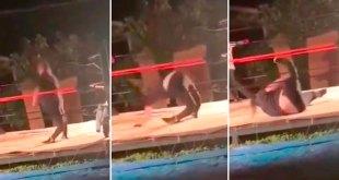 Luchador rompe rodillas maniobra