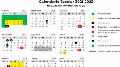 calendario ciclo escolar2021-2022 México