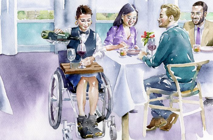 painting of waitress in a wheelchair