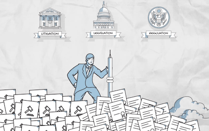 illustration of man standing on mountain of legal documents