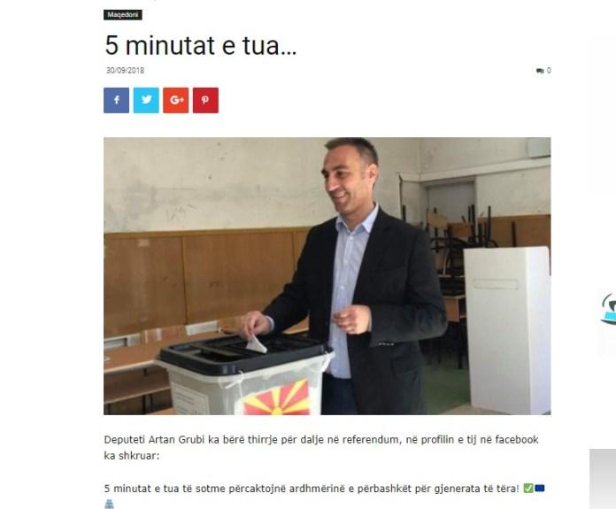 Screenshot nga lajmi qe recensohet