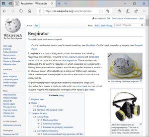 """Зборот """"респиратор"""" на англиски се употребува за заштитна маска која може да е дел од апарат за дишење. Слика; Wikipedia in English."""
