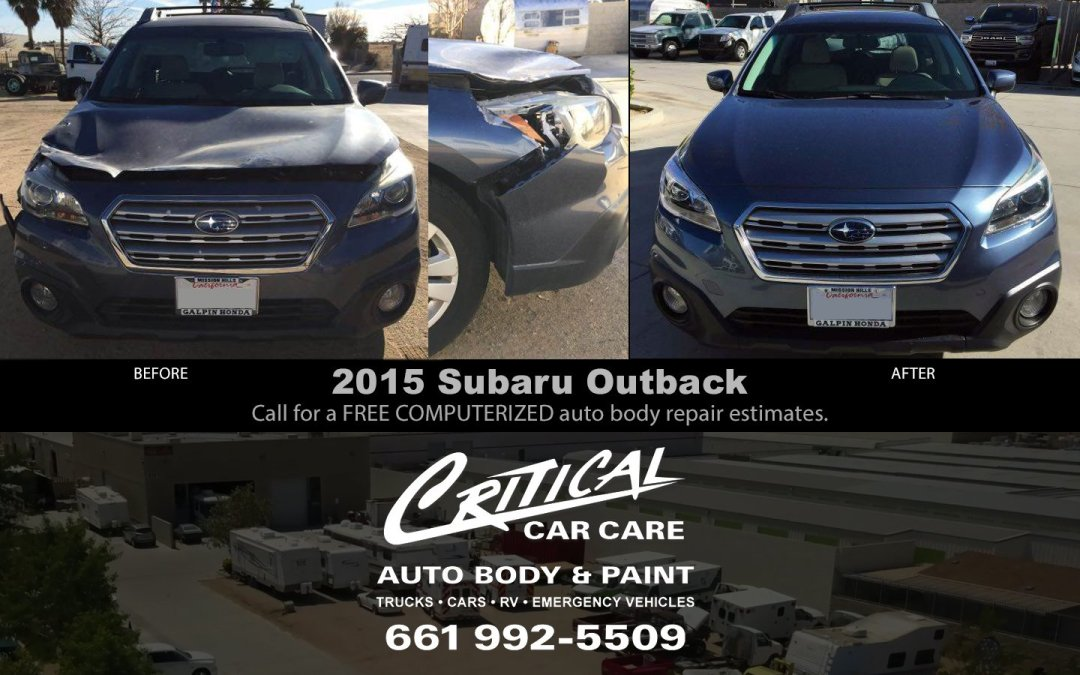 Subaru Outback auto body repair before & after tree damage!
