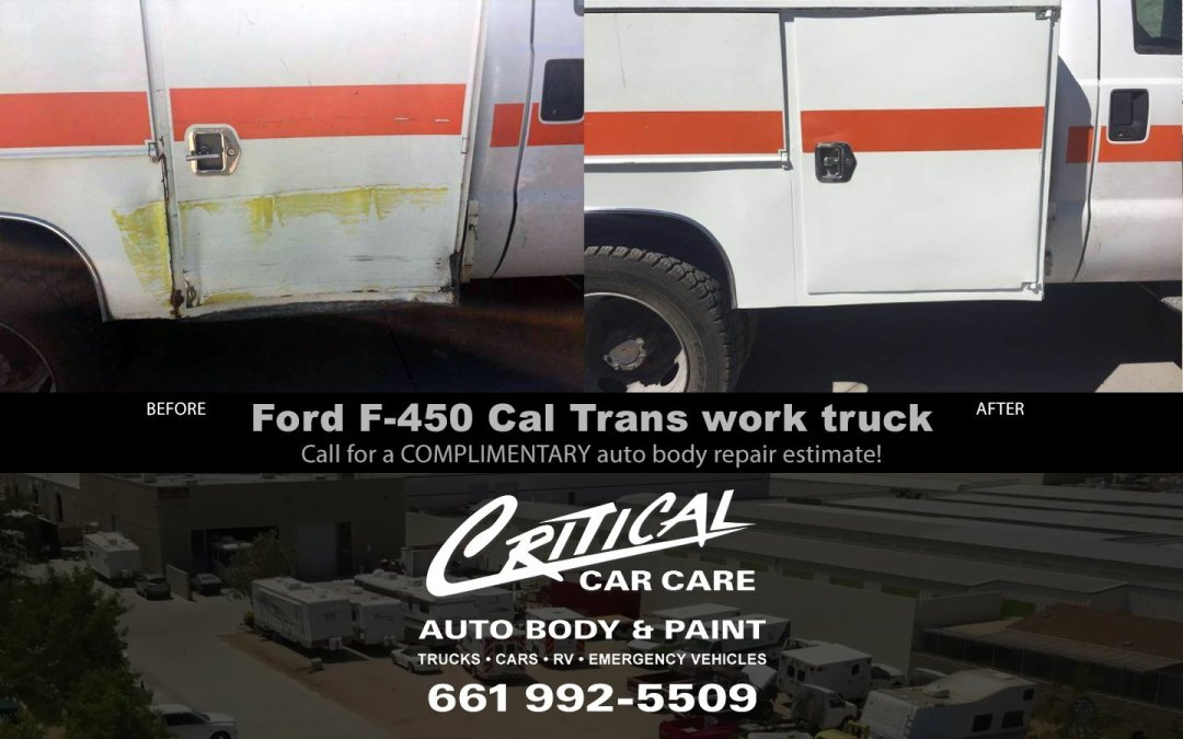 Ford F-450 Cal Trans work truck – before/after repair