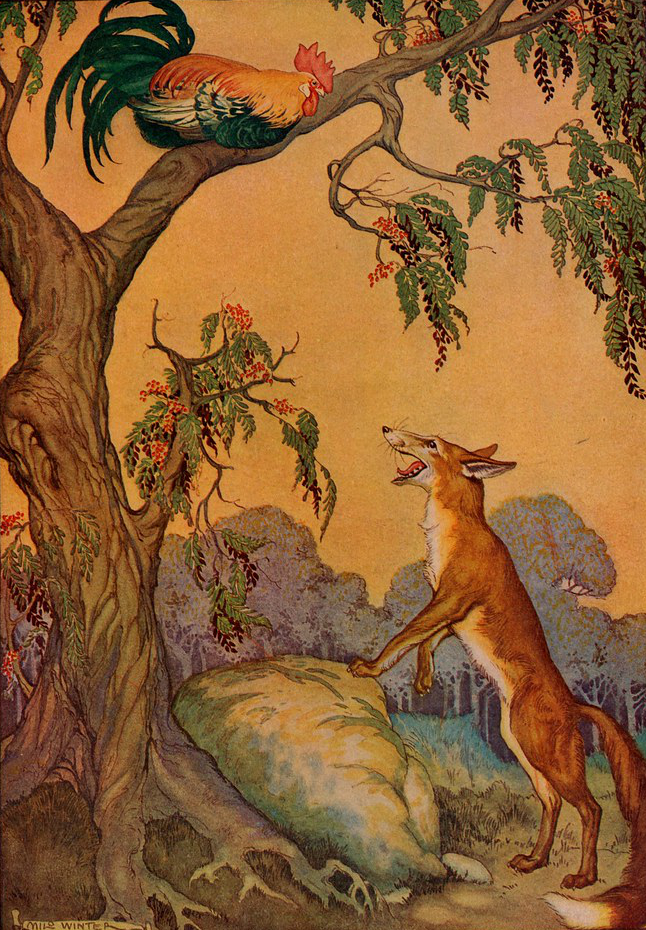 The Cock (Chanticleer) and the Fox, by Milo Winter