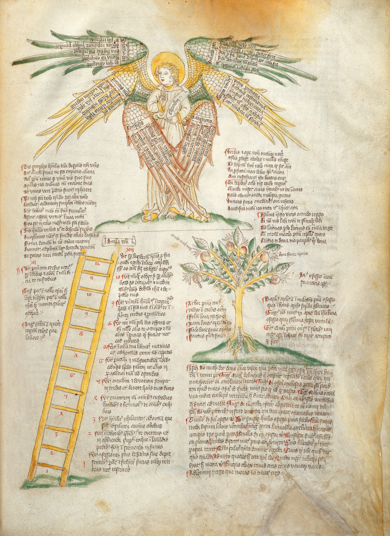 A MS illustration depicting Cherubim, the Ladder of Virtues, and the Tree of Penitence