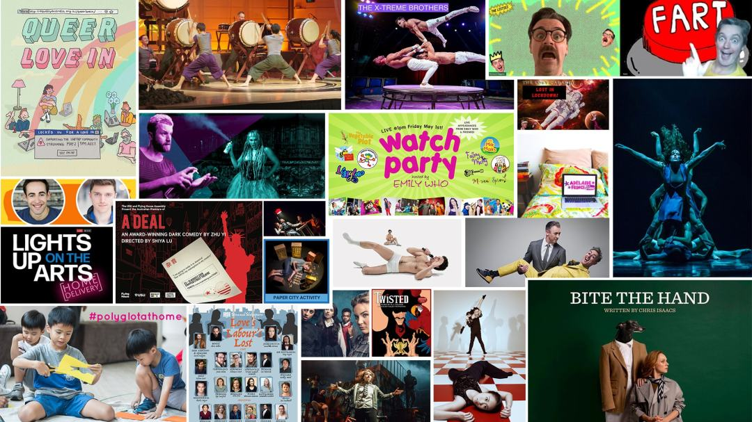 A graphic made up of images and poster images from the shows on the stage and stream weekly streaming guide. shows
