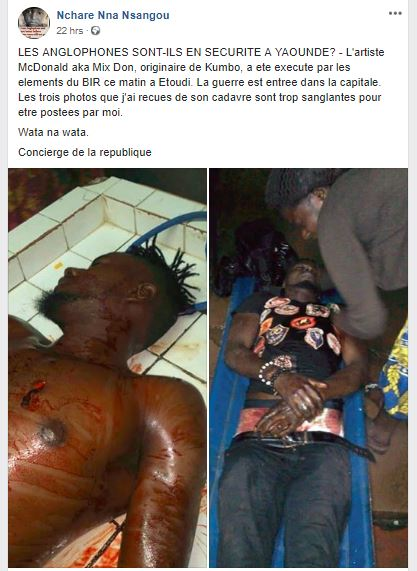 [Graphic]: Breaking News: An Anglophone Artist Shot and Killed By B.I.R.s in Yaounde