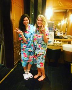 Chinese spa and our Hawaiian outfits!