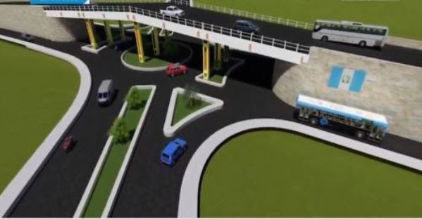 Así será el paso a desnivel que se construirá en Cuatro Caminos, San Cristóbal Totonicapán, Totonicapán, en la ruta CA-1 Occidente. (Foto: Gobierno de Guatemala)