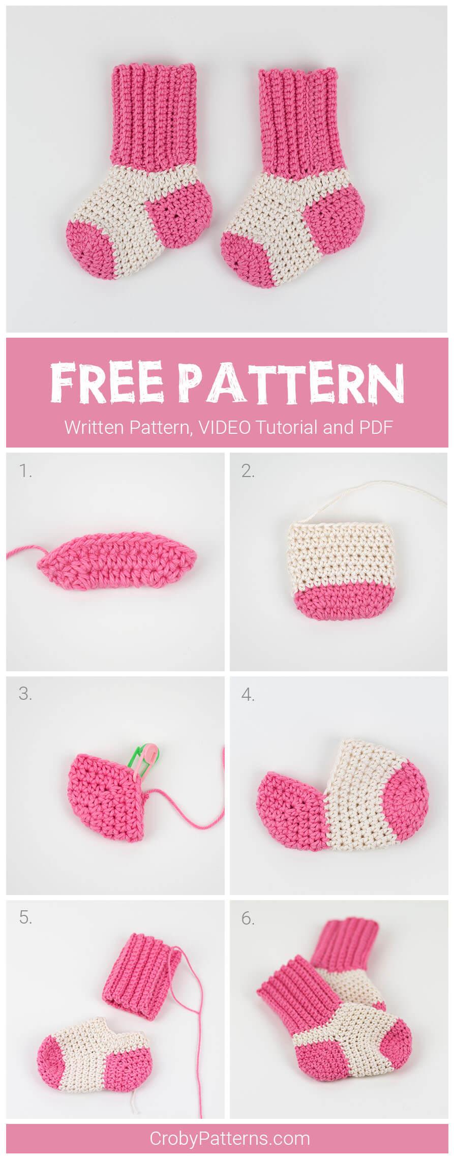 Two-Tone Crochet Baby Socks - Free
