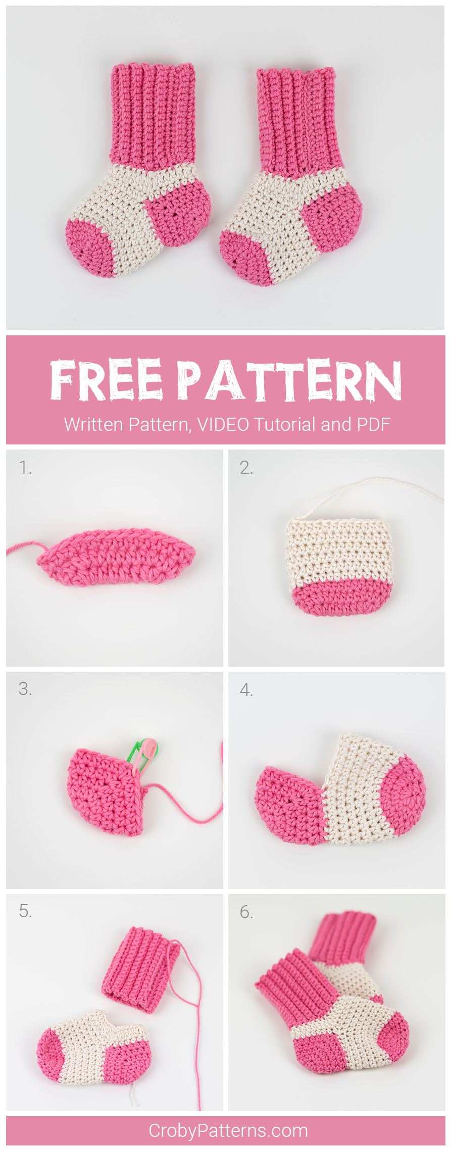 Cute Crochet Baby Socks Pattern by Croby Patterns