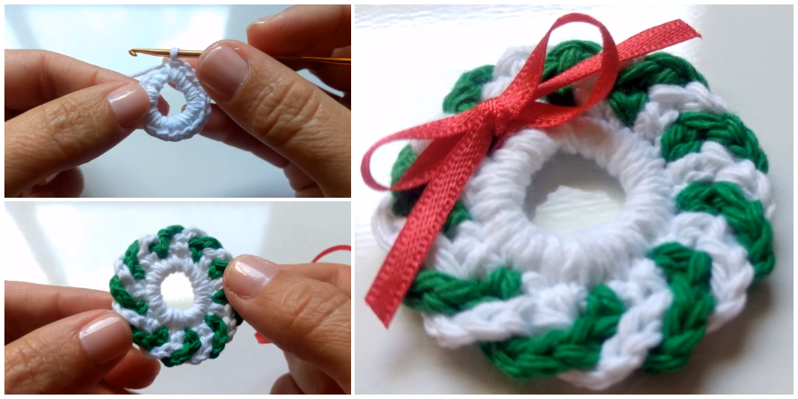 Make this Mini Crochet Christmas Wreath and decorate to match your home... You need 15 minutes to finish this project. The pattern includes instructions for all details but you could easily add your own decorations to customize. Happy Christmas !