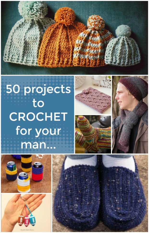 AT last, crochet projects I think my guy will actually wear or use. Great links here. Love the mug holder mitten!