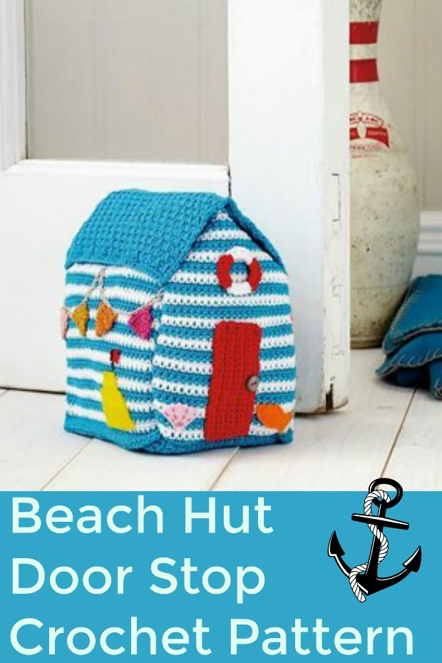 Pattern to crochet this adorable beach hut. Use it as a door stop, or for the kids to play with - or make it just for fun!
