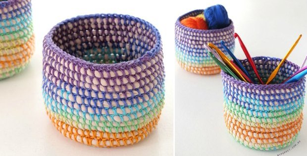 mini crochet basket rainbow pattern