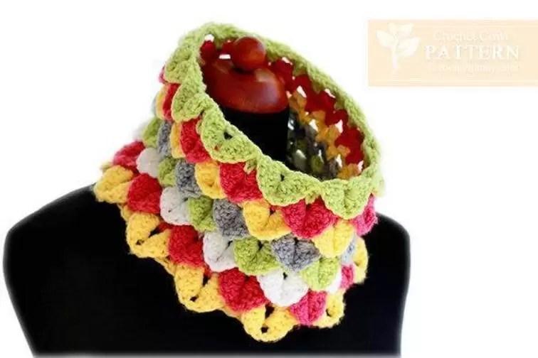 colorful cowl crocodile stitch crochet