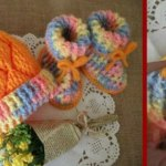 crochet baby hat and booties set