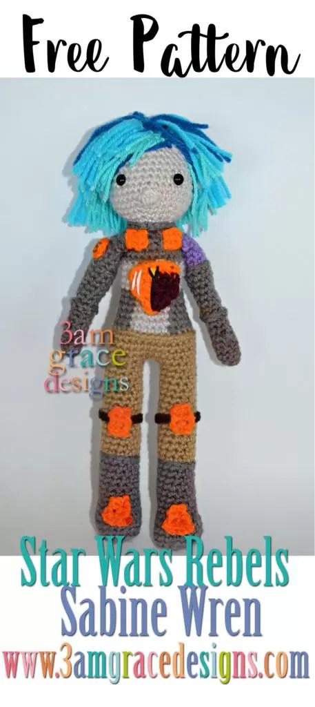 Sabine Wren from Star Wars Rebels free crochet pattern