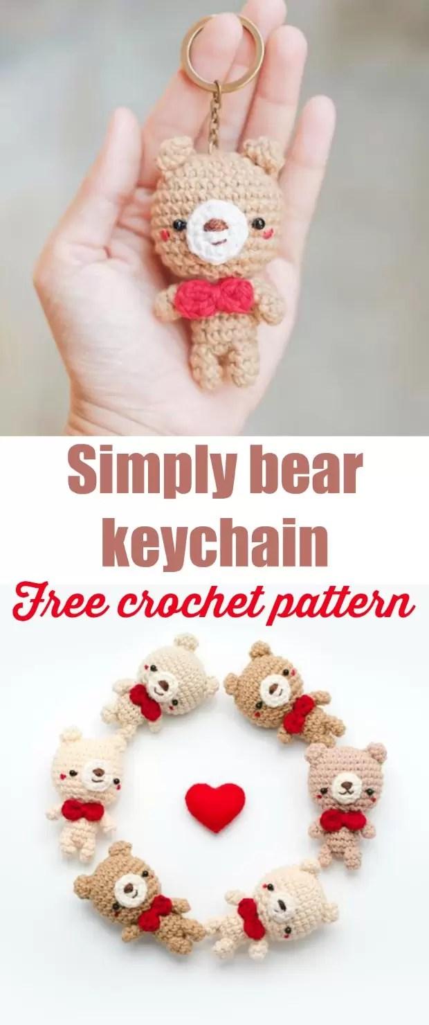 Cute teddy bear amigurumi pattern, free. Makes a nice keychain.