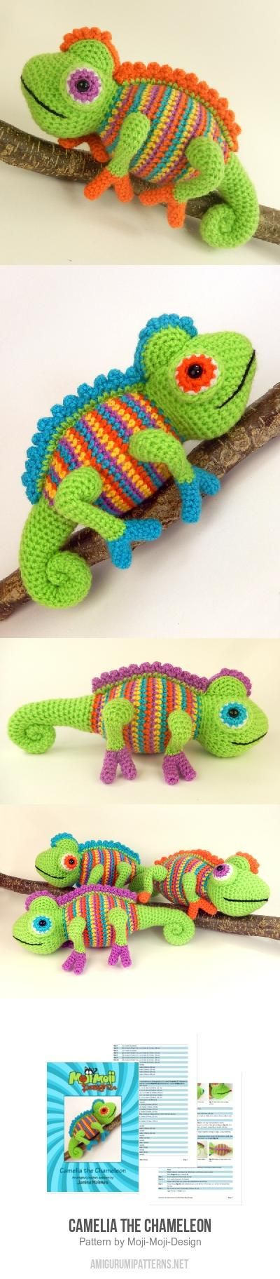 Colorful chameleon crochet pattern. He looks amazing! The kids are going to love their crochet chameleon. Great pattern.