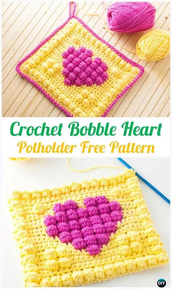 free crochet pattern - crochet bobble heart potholder free pattern