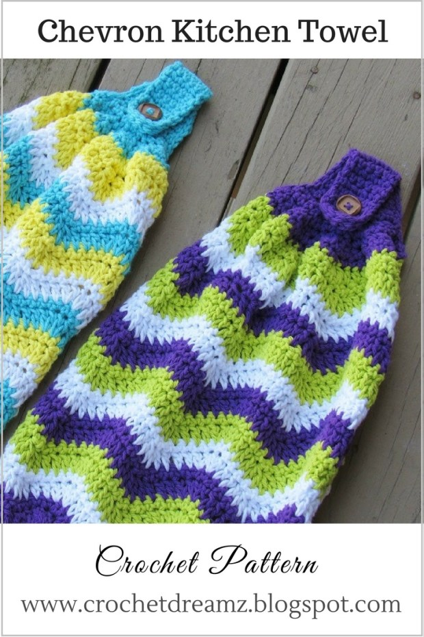 Free pattern for these quick and easy crochet chevron towels for the kitchen.