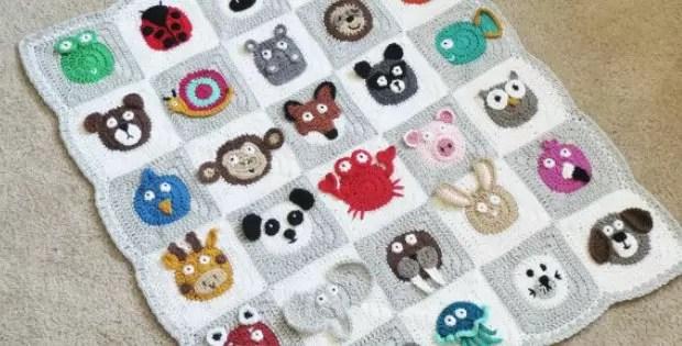 zoo baby blanket crochet pattern