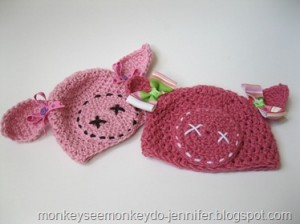 crocheted pig hat