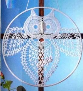 crochet owl suncatcher