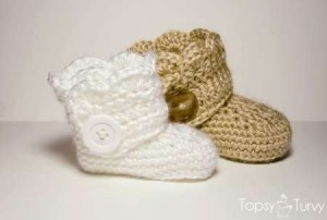 crocheted baby button boots