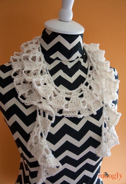 Knitting Pattern For Waterfall Scarf : Crochet Waterfall Scarf   A Frothy Beauty   Crochet