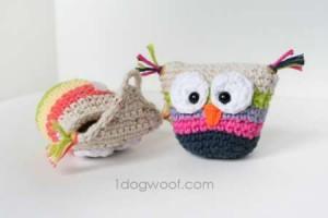 crochet owl pouch