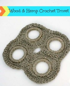 crochet wood and hemp trivet